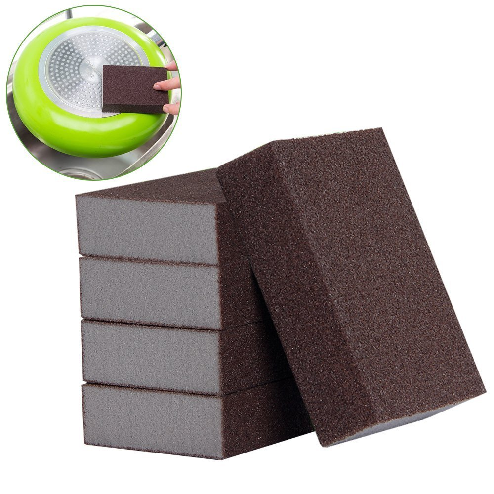 LUCKSTAR Nano Emery Sponge - Sponge Magic Eraser Brush Eraser Nano Silicon Carbide Descaling Home Kitchen Cleaning Sponge Cleaning Kitchen Rust Cleaning Tool Set of 5 (Brown.)