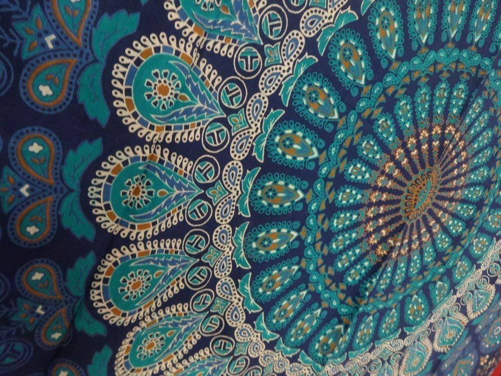 Craftozone Multi-colored Mandala Tapestry Indian Wall Hanging, Bedsheet Single (220x140 cms), Blue