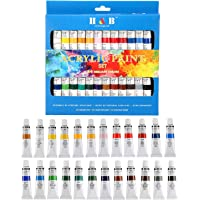 Alohahejahe-ae Acrylic Paint Set, Perfect for Canvas, Wood, Ceramic, Fabric, Non Toxic Vibrant Colors, Rich Pigments Lasting Quality for Beginners, Students Professional Artist(H&B-24 Colors)