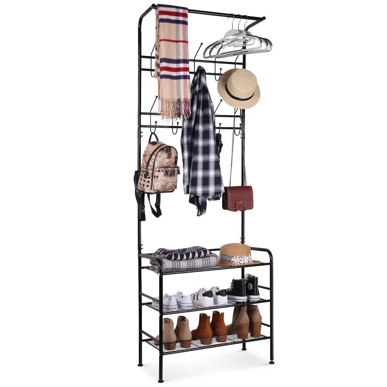 Homfa 190Cm Metal Coat Hat Rack Free Standing Clothes Stand