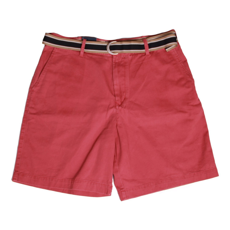 IZOD Men's Flat Front Belted Short (Rose, 36)