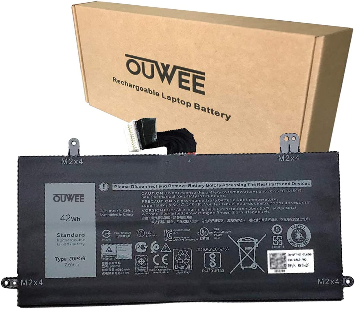OUWEE J0PGR Laptop Battery Compatible with Dell Latitude 12 5285 5290 2-in-1 Tablet Series Notebook 0J0PGR 1WND8 X16TW FTH6F 0FTH6F 7.6V 42Wh 5250mAh
