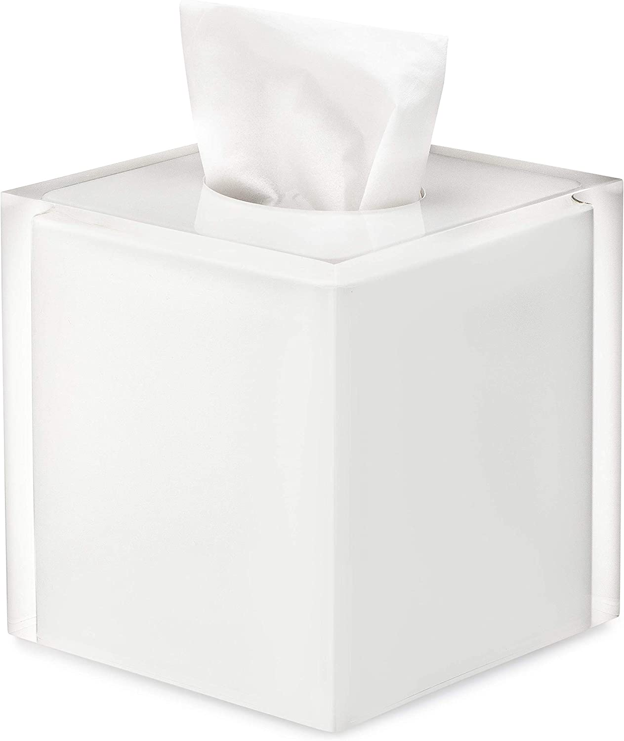 Essentra Home White and Transparent Square Tissue Cover Box from The Cristallino Collection