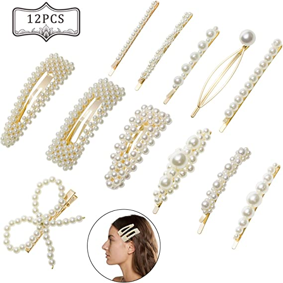 12 Pcs Moda Clips de Pelo Simple Perla, Perla Horquilla Artificiales de Pelo, Perlas Clips de Pelo Decorativos Hechos a Mano Clips Pearl Hair Clip para Damas y Niñas