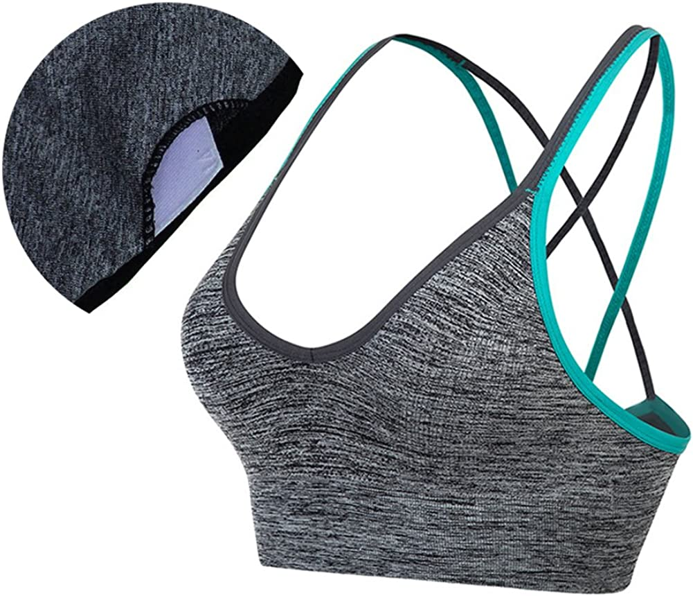 AKAMC 3 Pack Womens Medium Support Cross Back Wirefree Removable Cups Yoga Sport Bra