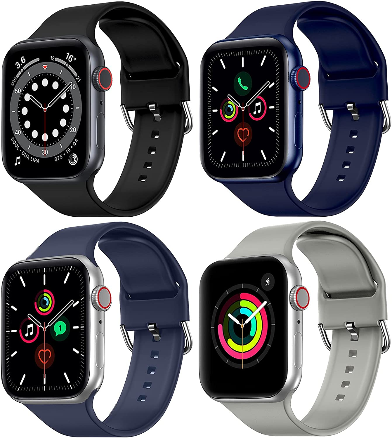 RARF 4-Pack Bands Compatible with Apple Watch 38mm 40mm 42mm 44mm for Women Men, Sport Replacement Silicone Strap Breathable