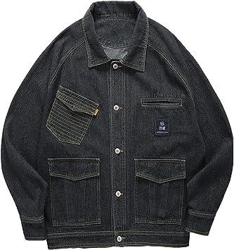 デニムジャケット メンズストライプポケットクラシックウォッシュドリラックスフィットトラッカーヴィンテージスタイルコート ユーズド加工コットンデニムジャケット
