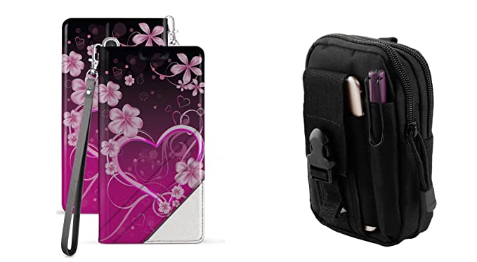 917181fb70 BC Synthetic PU Leather Magnetic Flip Cover Wallet Case (Love Flowers) with  Tactical EDC
