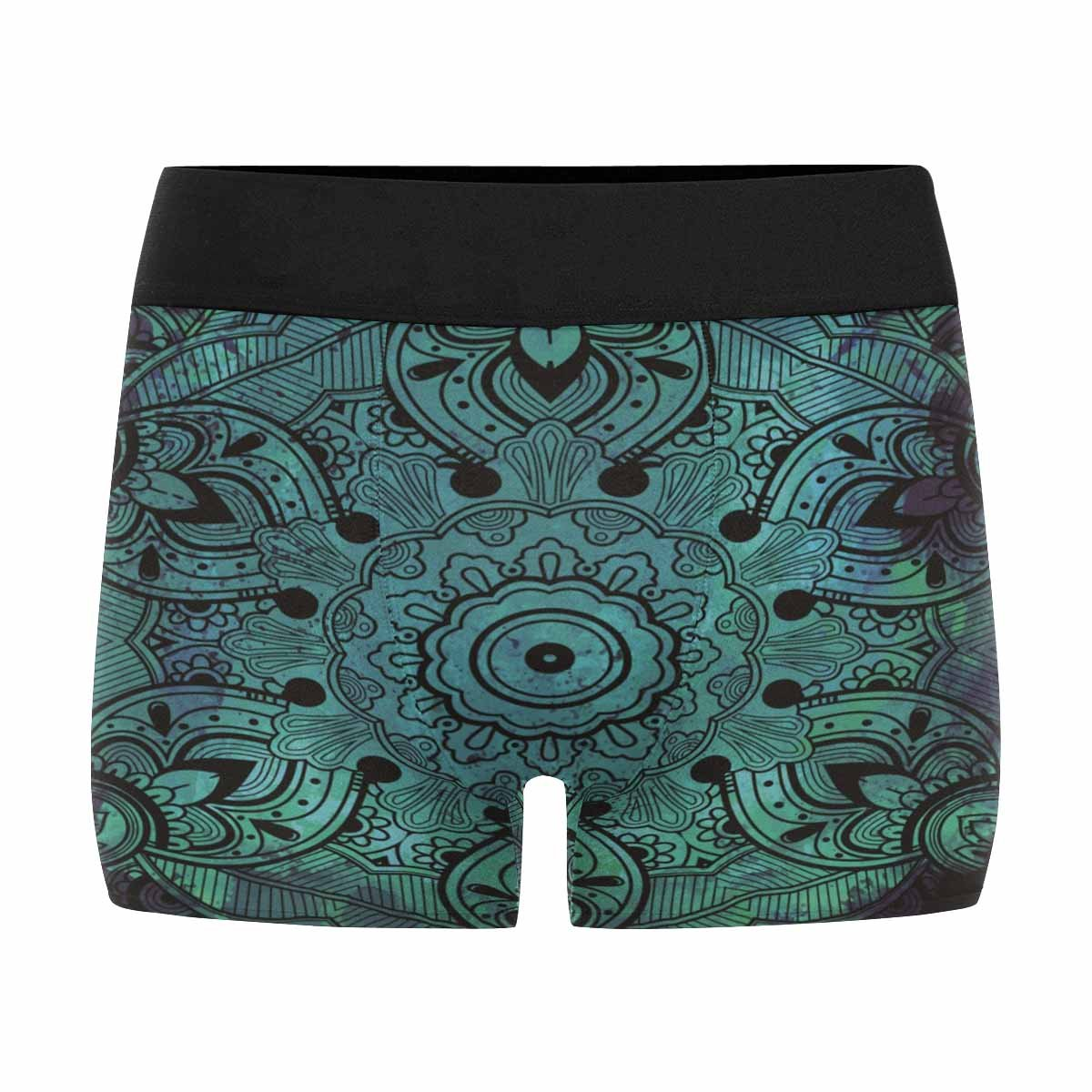 XS-3XL INTERESTPRINT Custom Mens Boxer Briefs Ornate Paisley Mandala Green