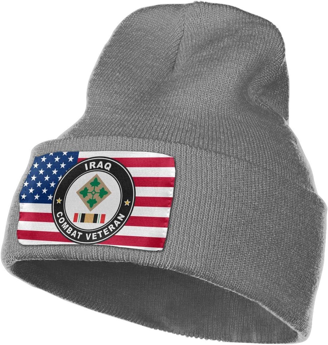 US Army 4th Infantry Division Iraq Combat Veteran Men/&Women Warm Winter Knit Plain Beanie Hat Skull Cap Acrylic Knit Cuff Hat