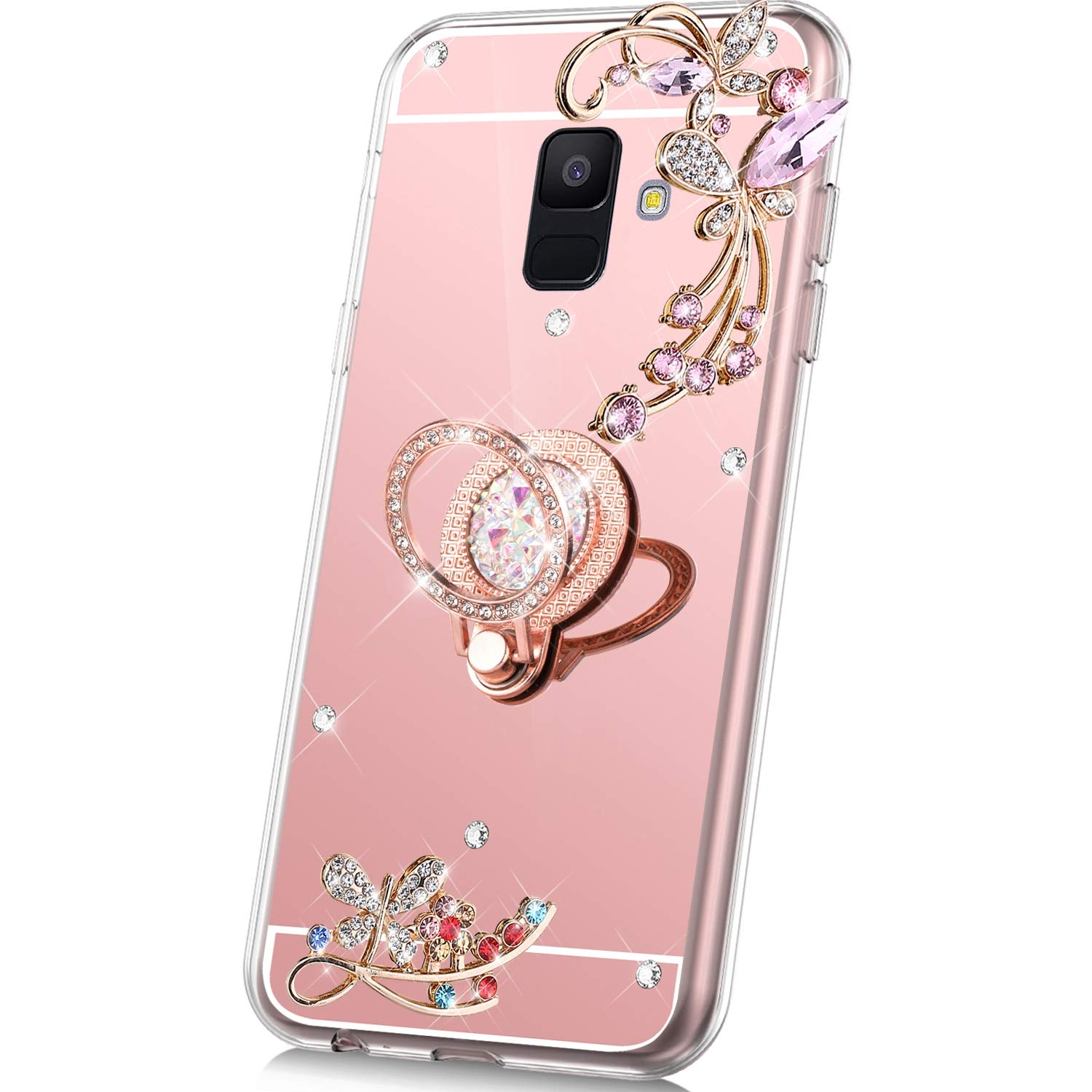PHEZEN Case for Samsung Galaxy A6 2018 Mirror Case,Bling Glitter Flowers Sparkle Rhinestone Mirror Back TPU Silicone Case Cover with Ring Kickstand Diamond Crystal Case for Galaxy A6 2018,Rose Gold by PHEZEN