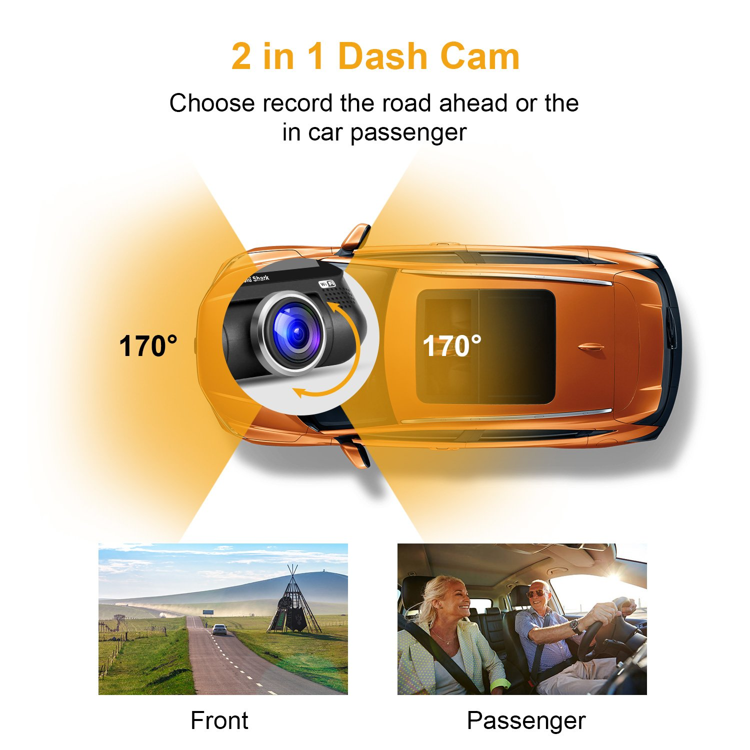 WiFi Dash Camera - 1080P Full HD Car DVR Dashcam 220 Degree Wide Angle Dash Camera for Cars, 3\