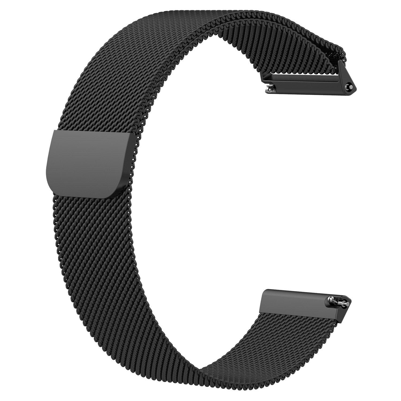 aWinnerバンドfor Fitbit Versa、ステンレススチールミラネーゼループメタル交換アクセサリーブレスレットストラップwith Uniqueマグネットロックfor Fitbit Versa Smart Watch S AW-VERSA-8 S ブラック ブラック S B07BL23Z5S