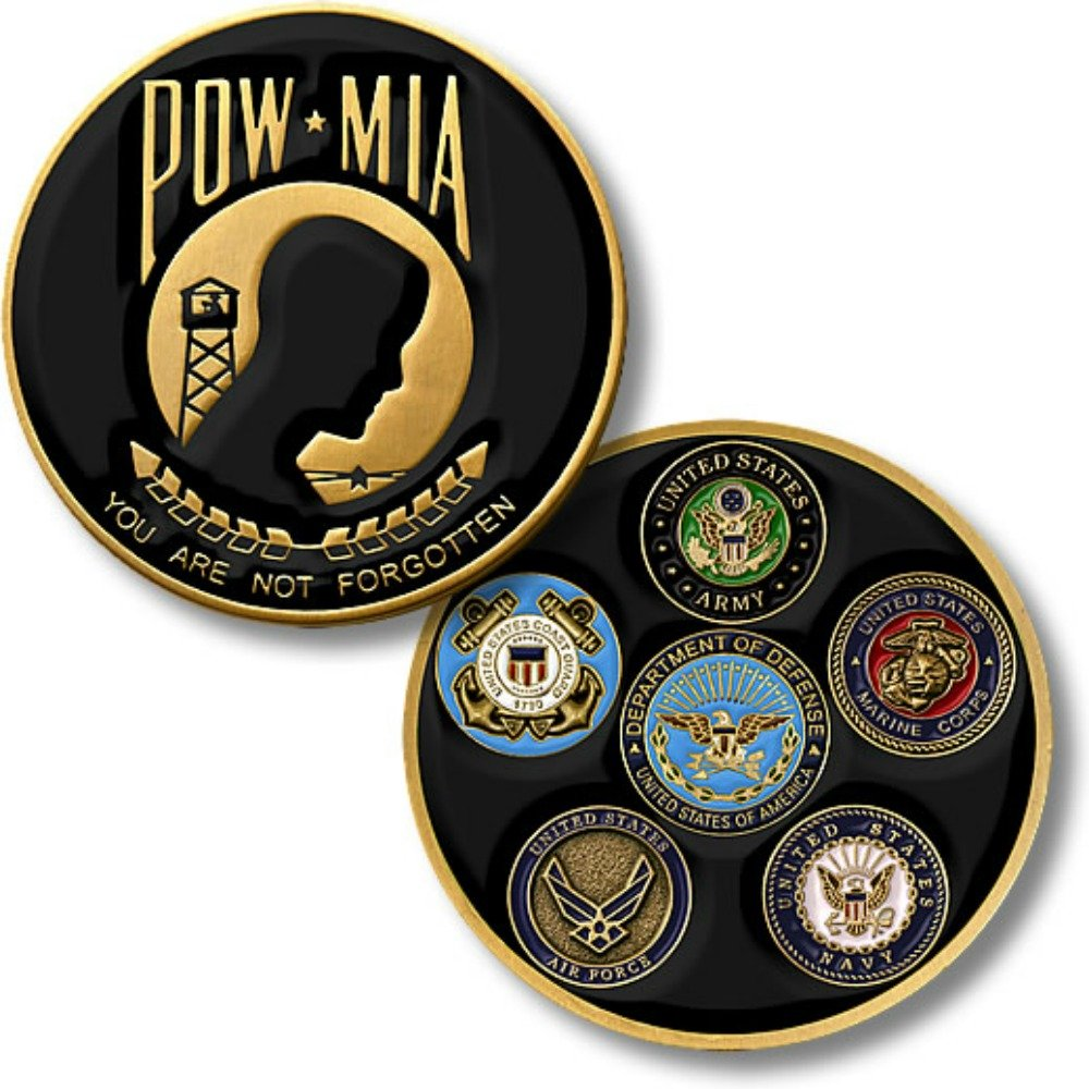 MotorDog69 Harley Black Gas Cap Coin Mount Set with POW-MIA for Softail Dyna Road King Sportster
