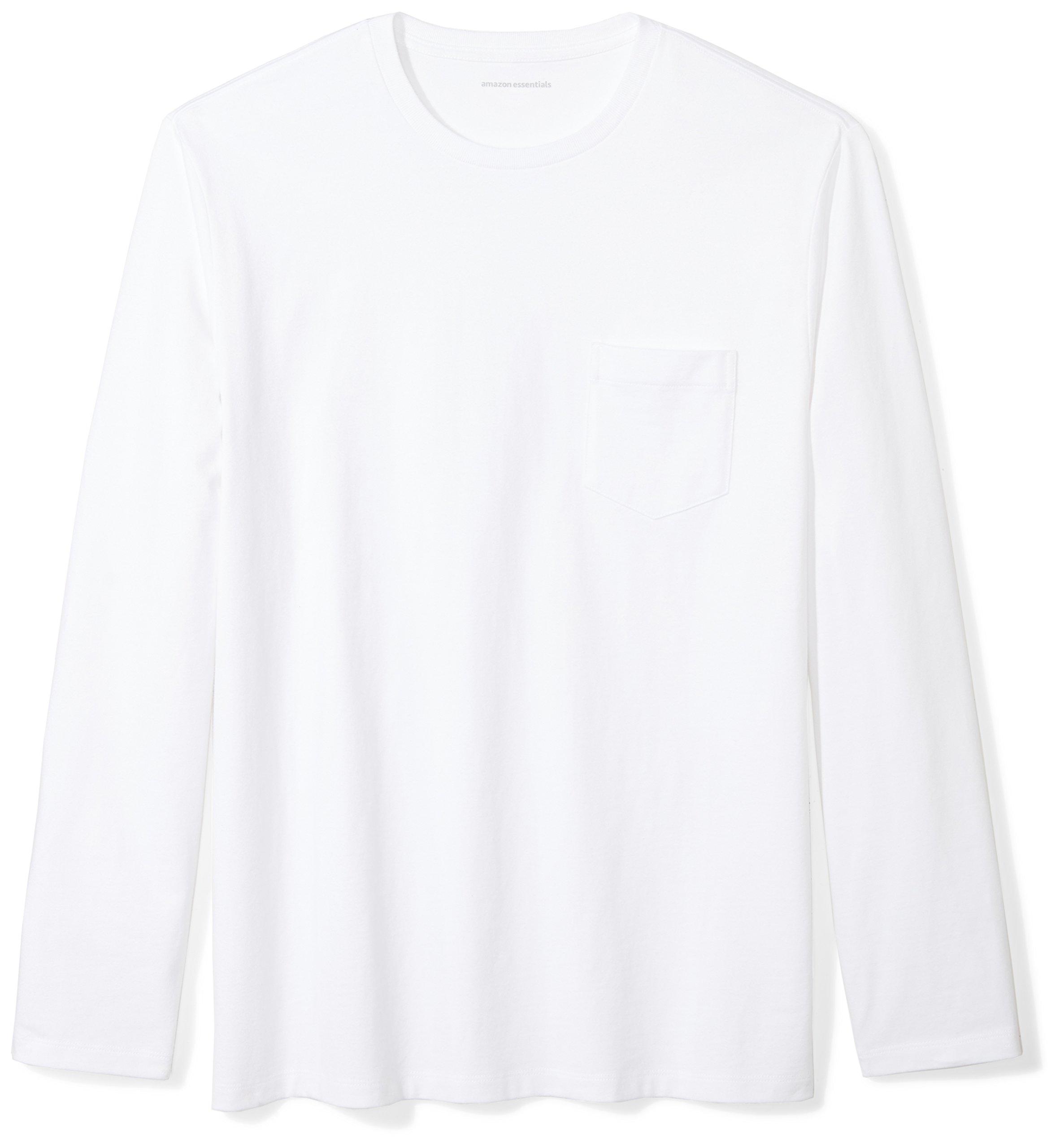 Amazon Essentials Men's Regular-Fit Long-Sleeve Pocket T-Shirt, White, Medium
