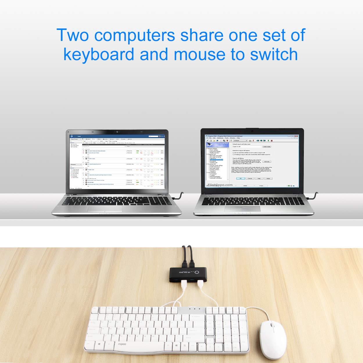 PS4 PC AIMOS KVM Switch HDMI USB Commutatore 4K Risoluzione con Hub 4 Porte Supporta USB 2.0 Dispositivi per Laptop Xbox HDTV