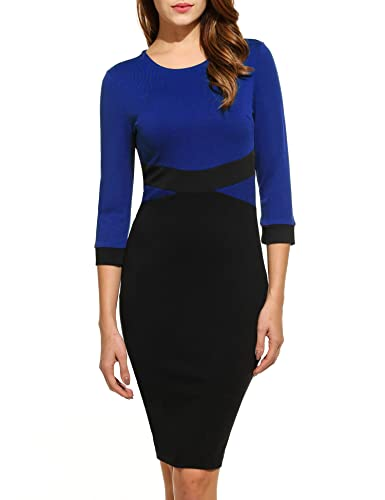 ANGVNS Women's 3/4 Sleeve Elegant Colorblock Business Cocktail Party Pencil Dress