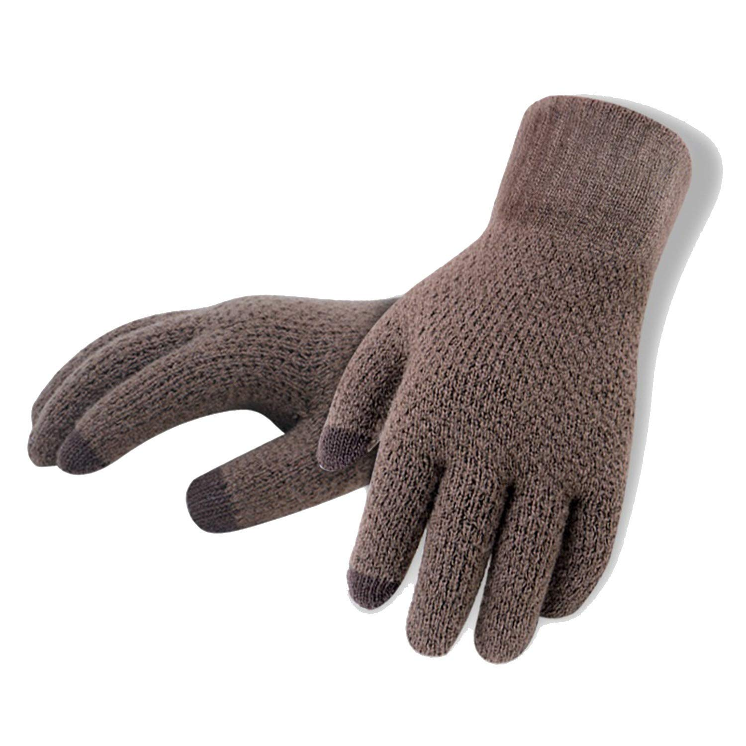 Winter Autumn Men Knitted Gloves Touch Screen Mens Thicken Warm Wool Cashmere Solid Gloves Men Mitten Business