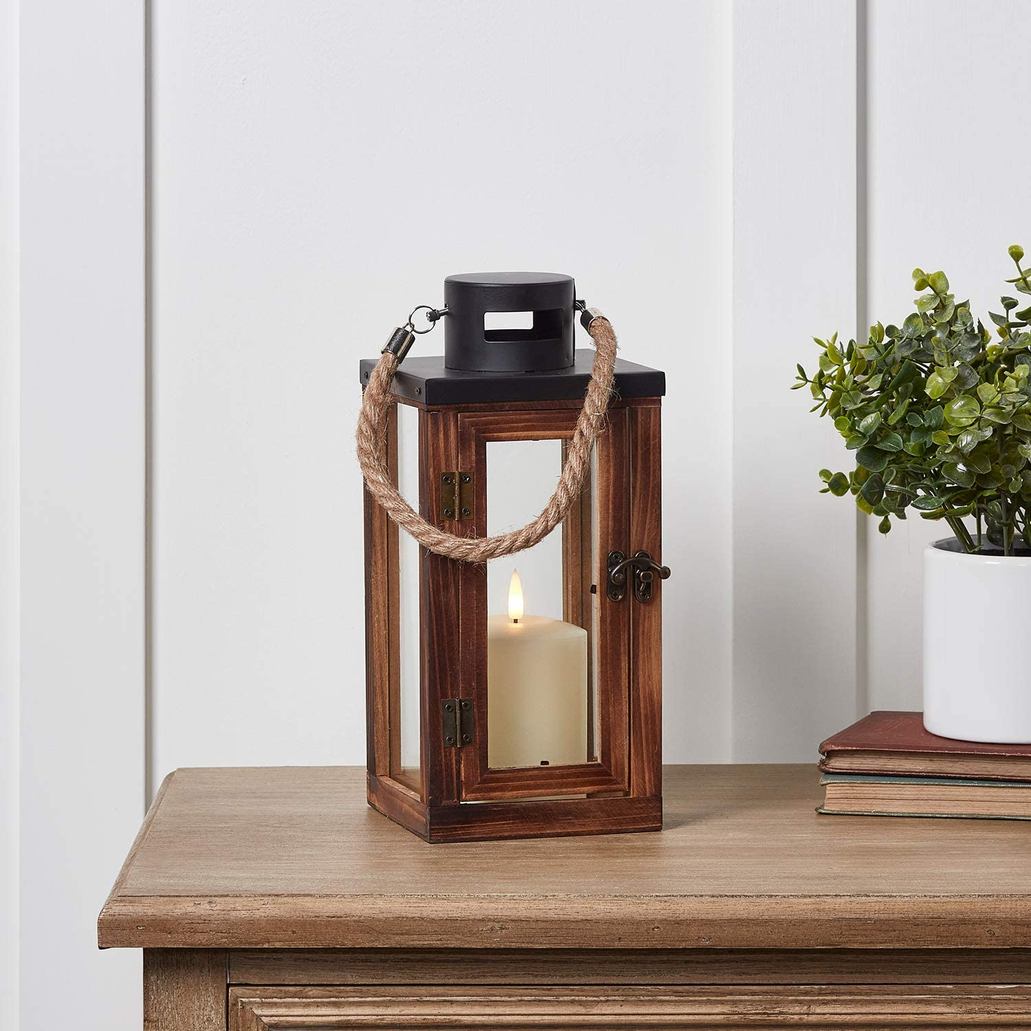 Lights4fun, Inc. Regular Wooden Indoor Battery Operated LED Flameless Candle Lantern