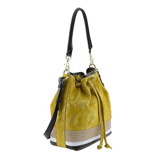 87c9f37ec70 Bolso saco piel serraje Talla  U Color  AMARILLO  Amazon.es  Zapatos y  complementos
