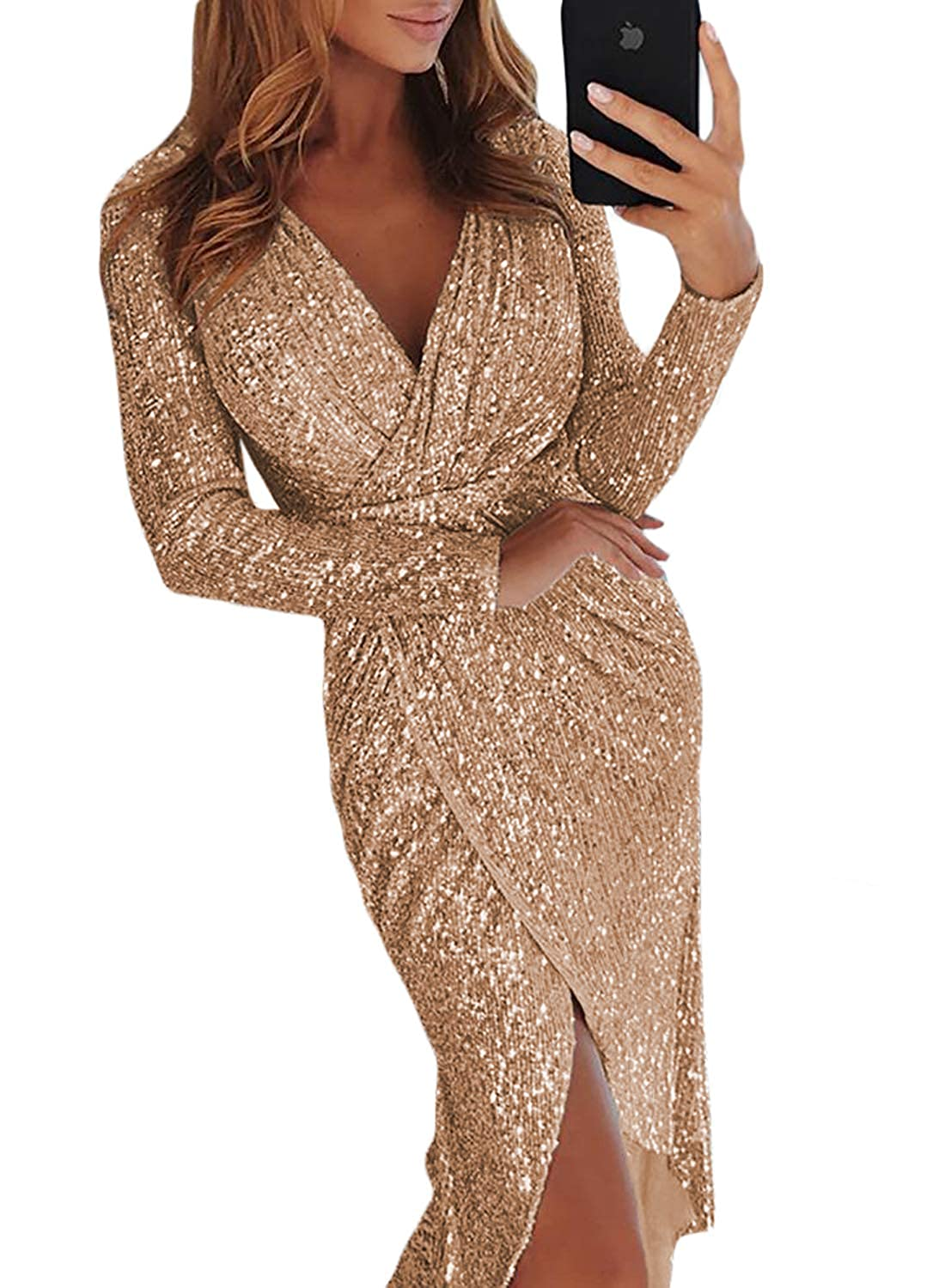 788f8bc6 Elapsy Womens Sexy Deep V Neck Sequins Wrapped Ruched Irregular Party  Cocktail Dress at Amazon Women's Clothing store: