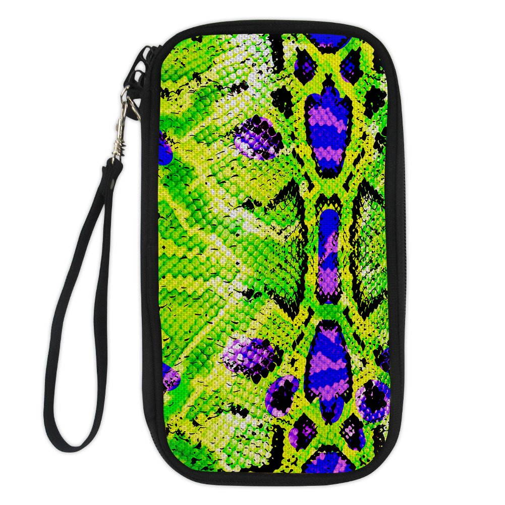 Serpentine Pattern Passport Cover Holder for Women Travel Wallet Purse Zipper