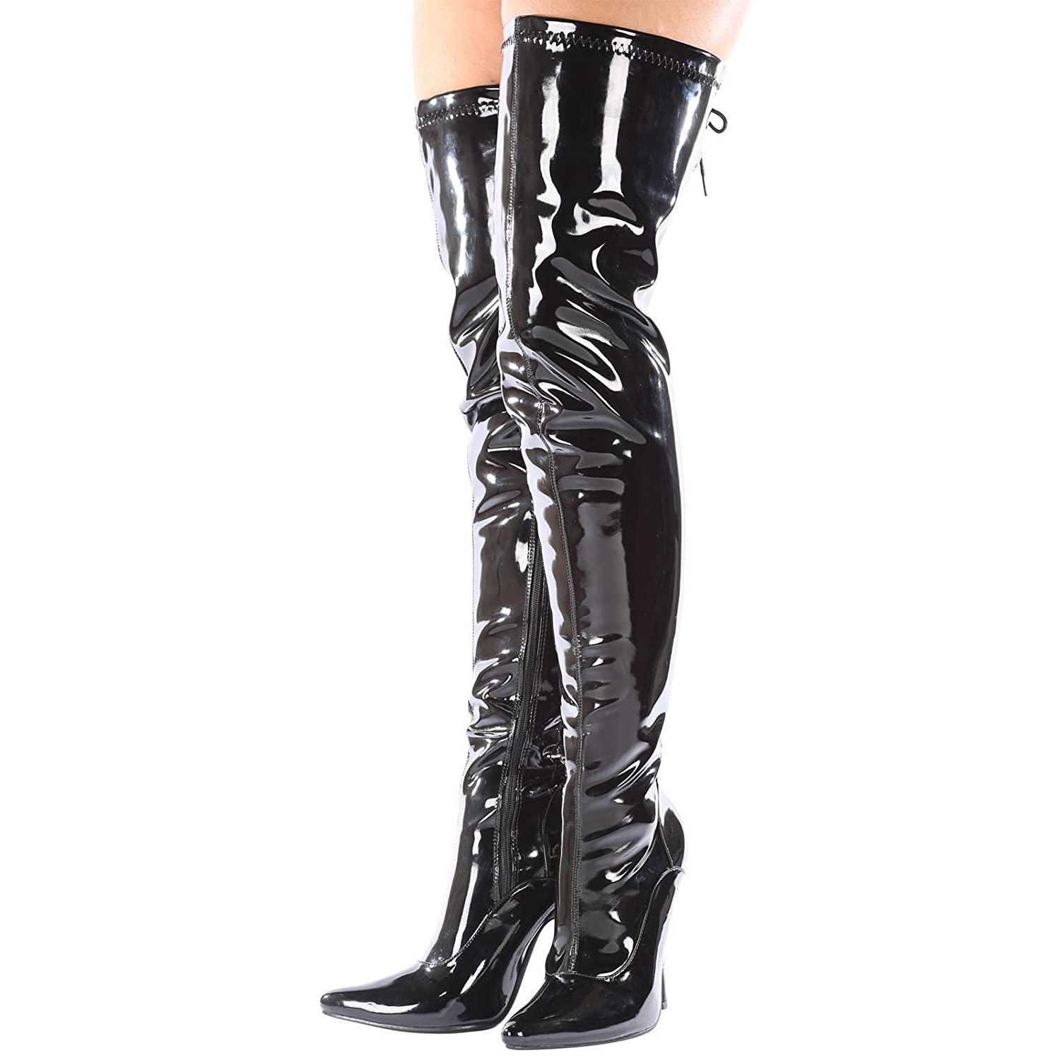 81a31fbd2e56 Gizelle New Womens Ladies Sexy Thigh HIGH Kinky Fetish Over The Knee  Stiletto Heel Full Hook LACE UP and Side Zip Boots Size UK 4-12 (5