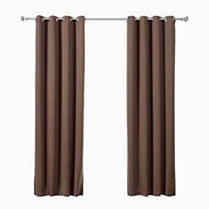 "Best Home Fashion Closeout Basic Thermal Insulated Blackout Curtains - Antique Bronze Grommet Top - Chocolate - 52"" W x 84"" L – (Set of 2 Panels)"