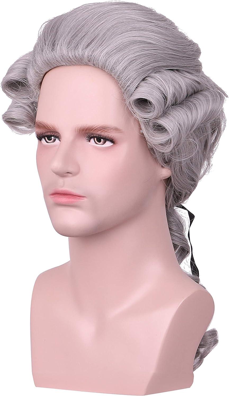Yilys Men Long Wave Judge Colonial Wig Halloween Costume Cosplay Wig Gray