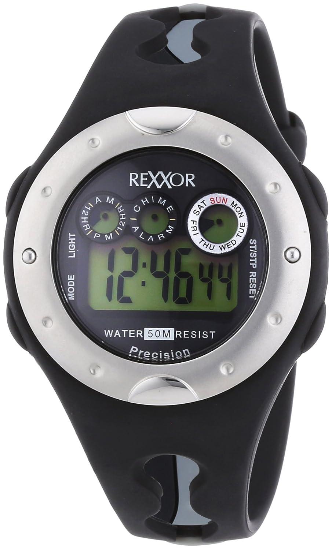 Rexxor  - Reloj Digital de Cuarzo para Hombre, correa de Goma color Negro
