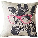 "Cartoon Giraffe Pink Glasses Cotton Linen Sofa Decor Throw Pillow Covers Pillowcase Sham Decor Cushion Cover Slipcovers Square 18x18 Inch 18"" Only Cover No Insert"