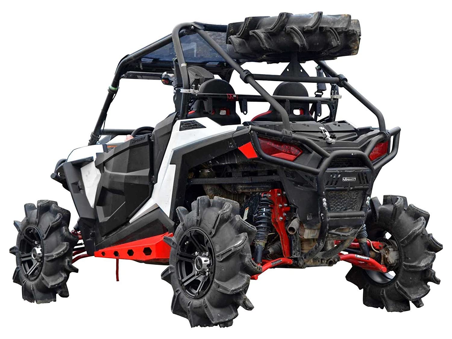 SuperATV Polaris RZR 900/900 S/900 XC Heavy Duty Spare Tire Carrier - Wrinkle Black - Easy, Bolt-On Installation! SuperATV.com