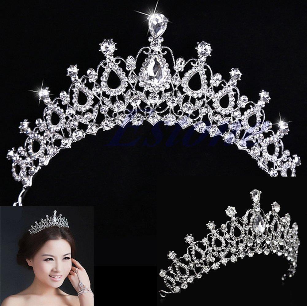 Crystal Rhinestone Tiara Bridal Leaf Wedding Headband Crown Pageant Prom Flower