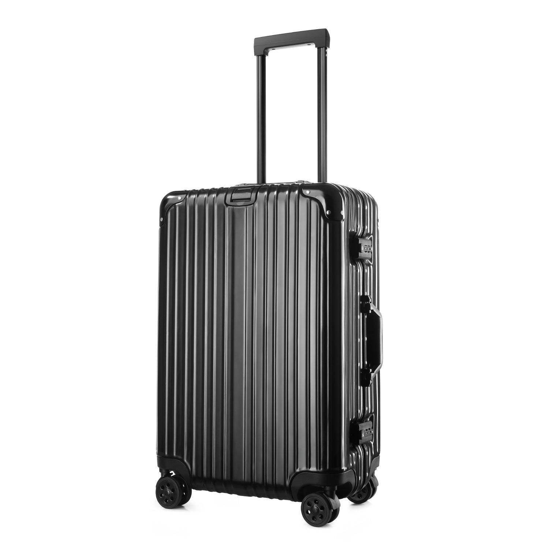 (アスボーグ) ASVOGUE スーツケース キャリーケース TSAロック 鏡面仕上げ アルミフレーム 旅行 軽量 ファスナーレス B07B4DZ2HF IXL|ブラック ブラック IXL