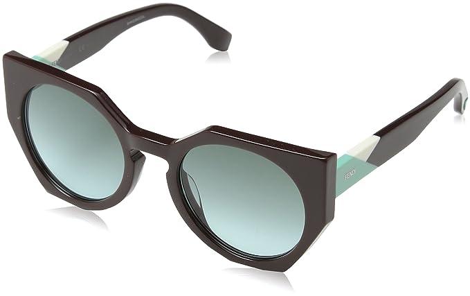 Fendi Damen Sonnenbrille FF 0151/S EQ Pjq, Rot (Burgundy/Green Aqua), 51