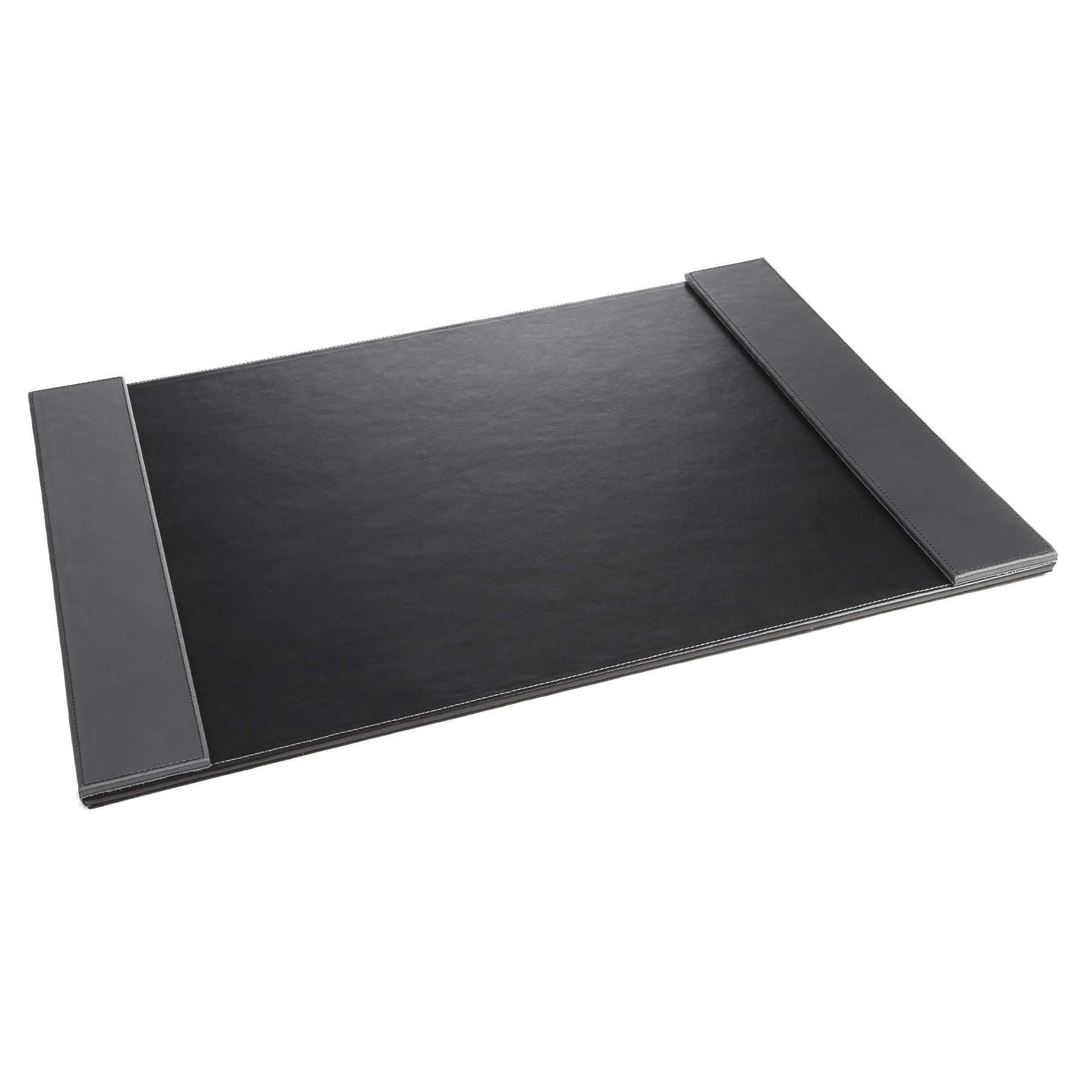Artistic 24'' x 19'' Monticello Executive Leather-Like Desk Pad with Side Rails, Black/Grey Side Rails
