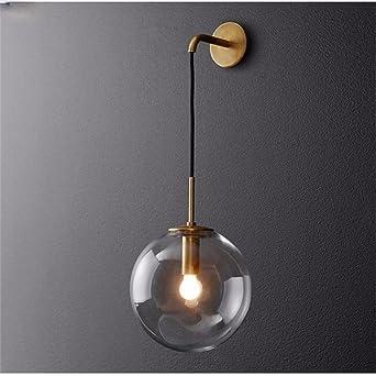 Nordique Lampe Boule Salle Murale Moderne De Verre Miroir Led 6gbfyY7