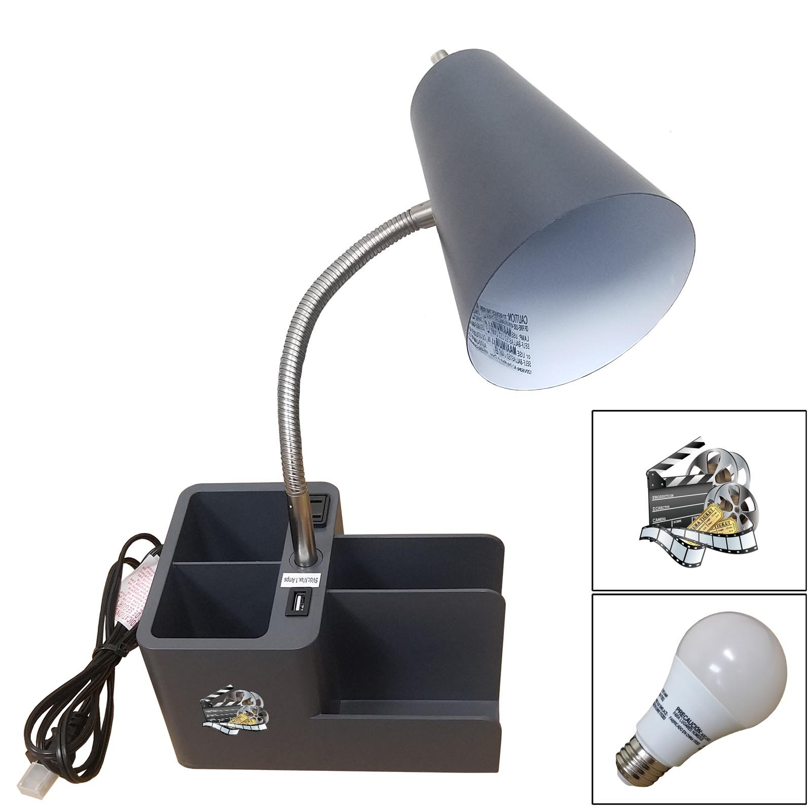 NEW! Grey Finish Organizer Table/Desk Lamp with a USB Port and Power Outlet that Features Your Choice of a Novelty Themed Logo and a Free LED Bulb! (Movie Reel)