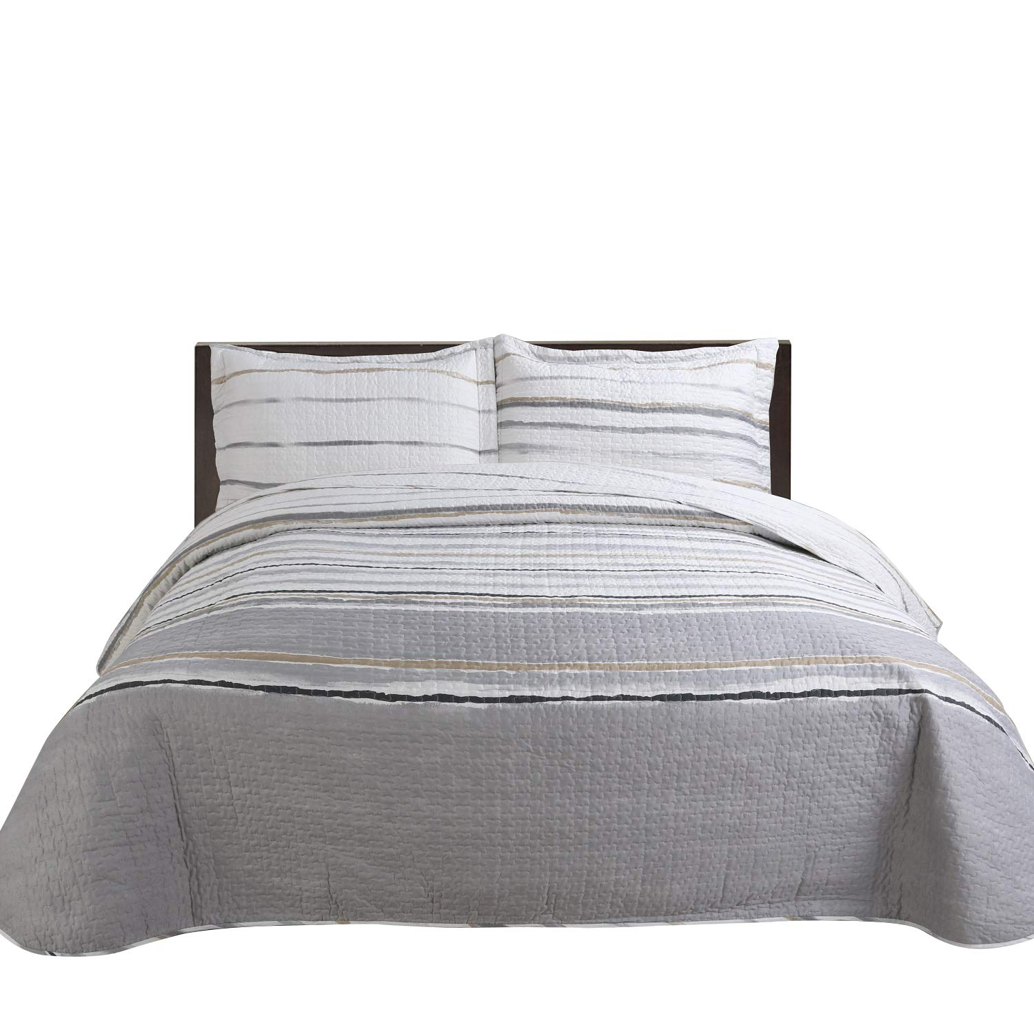 Hilin Fashion Microfiber Reversible Printing 2-Pieces Quilt Set Twin Size with Shams,as Bedspread,Coverlet or Bed Cover-Soft,Lightweight and Hypoallergenic (Rene Grigio, Twin)