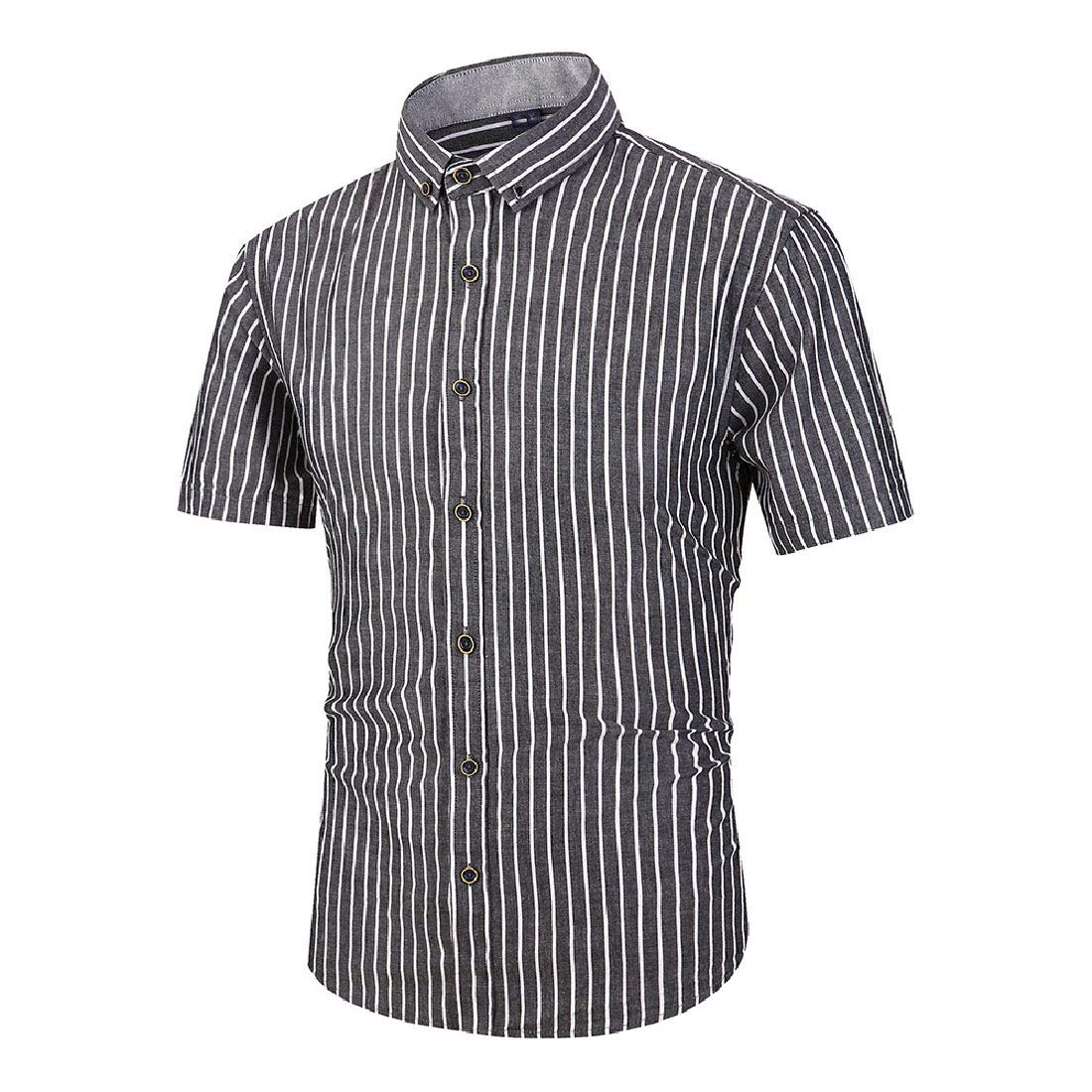 Highisa Mens Flat Collar Striped Casual Short Sleeve Cotton Shirts
