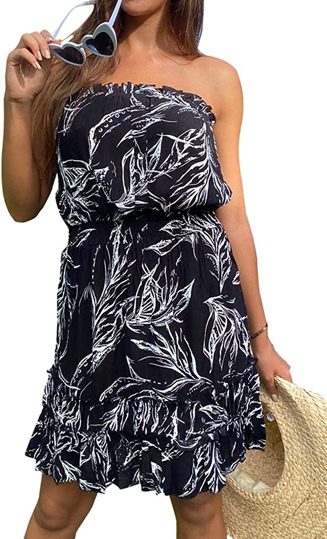 QegarTop Women Summer Strapless Off Shoulder Beach Dresses Boho Floral Tube Sundress