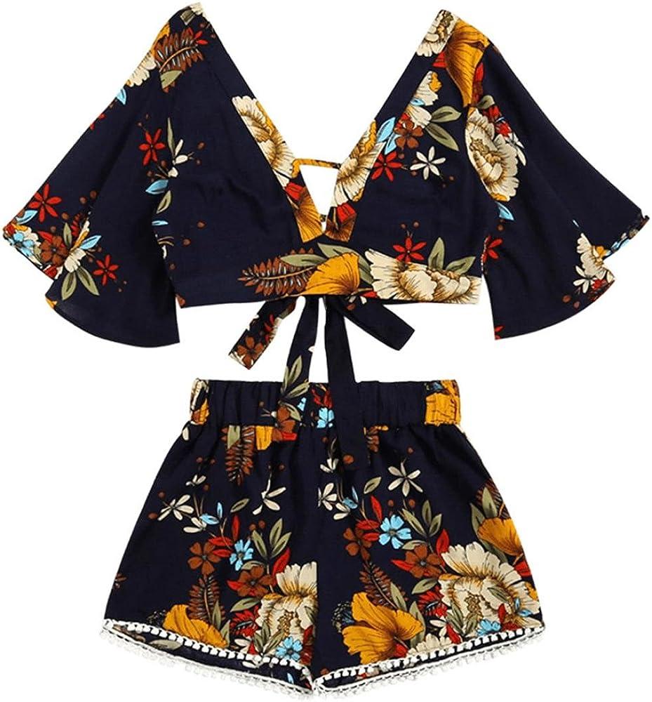 Camisas Mujer, Set de Dos Piezas Sexy Tops de Verano de impresión botánica de Mujer + Pantalones Cortos Ropa de Playa Bikini Cover up Conjunto Xinantime (S, Negro): Amazon.es: Ropa y accesorios