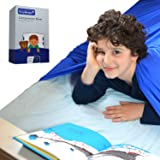 SleepKeeper Sensory Compression Blanket - (Twin, Blue) Best Alternative to Weighted Blankets - Comfortable, Stretchy, Cool and Breathable Compression Bed Sheet for Kids, Toddlers, and Adults