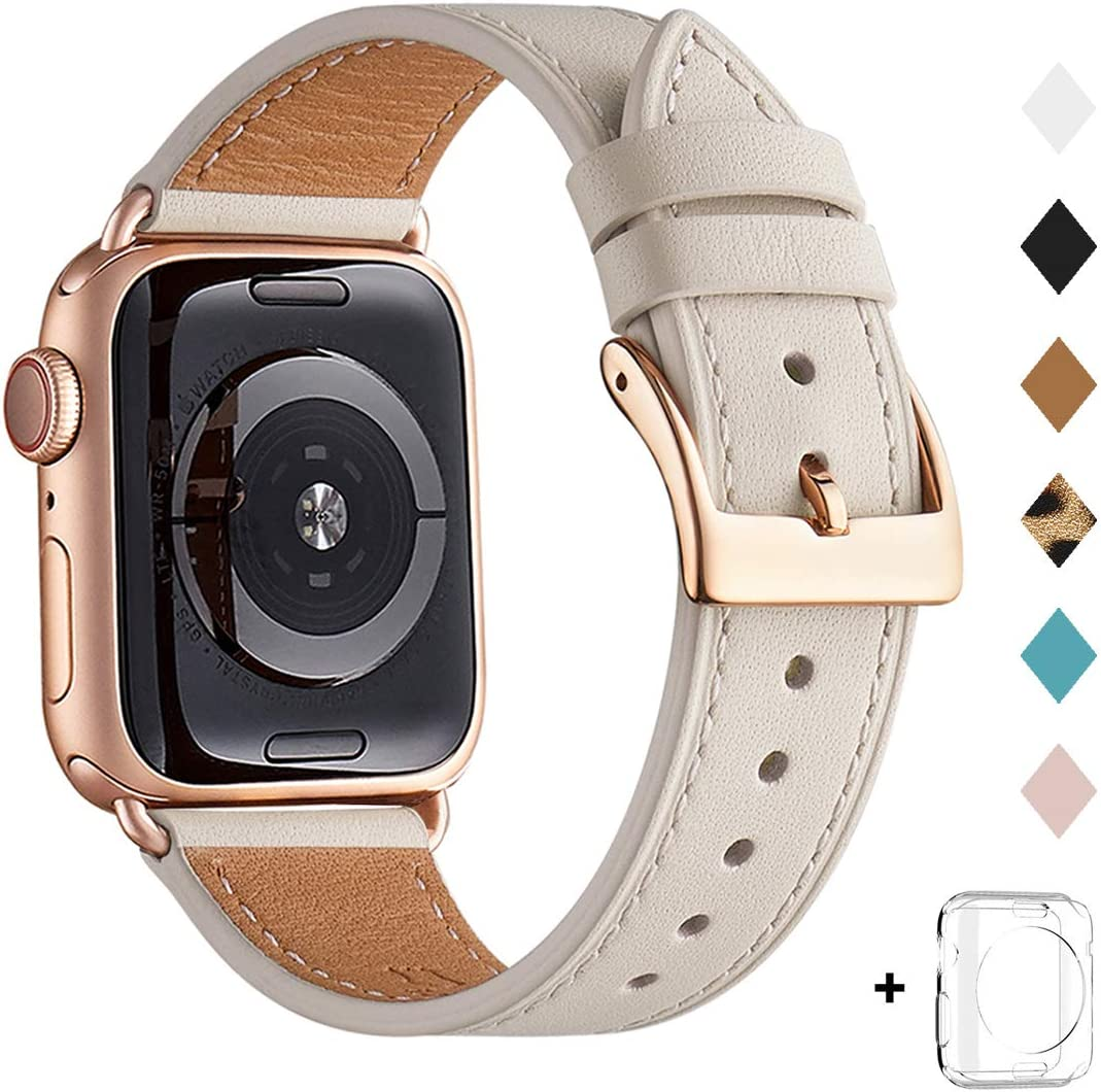 Bestig Band Compatible for Apple Watch 38mm 40mm 42mm 44mm, Genuine Leather Replacement Strap for iWatch Series 6 SE 5 4 3 2 1, Sports & Edition (Ivory White Band+Rose Gold Adapter, 38mm 40mm)