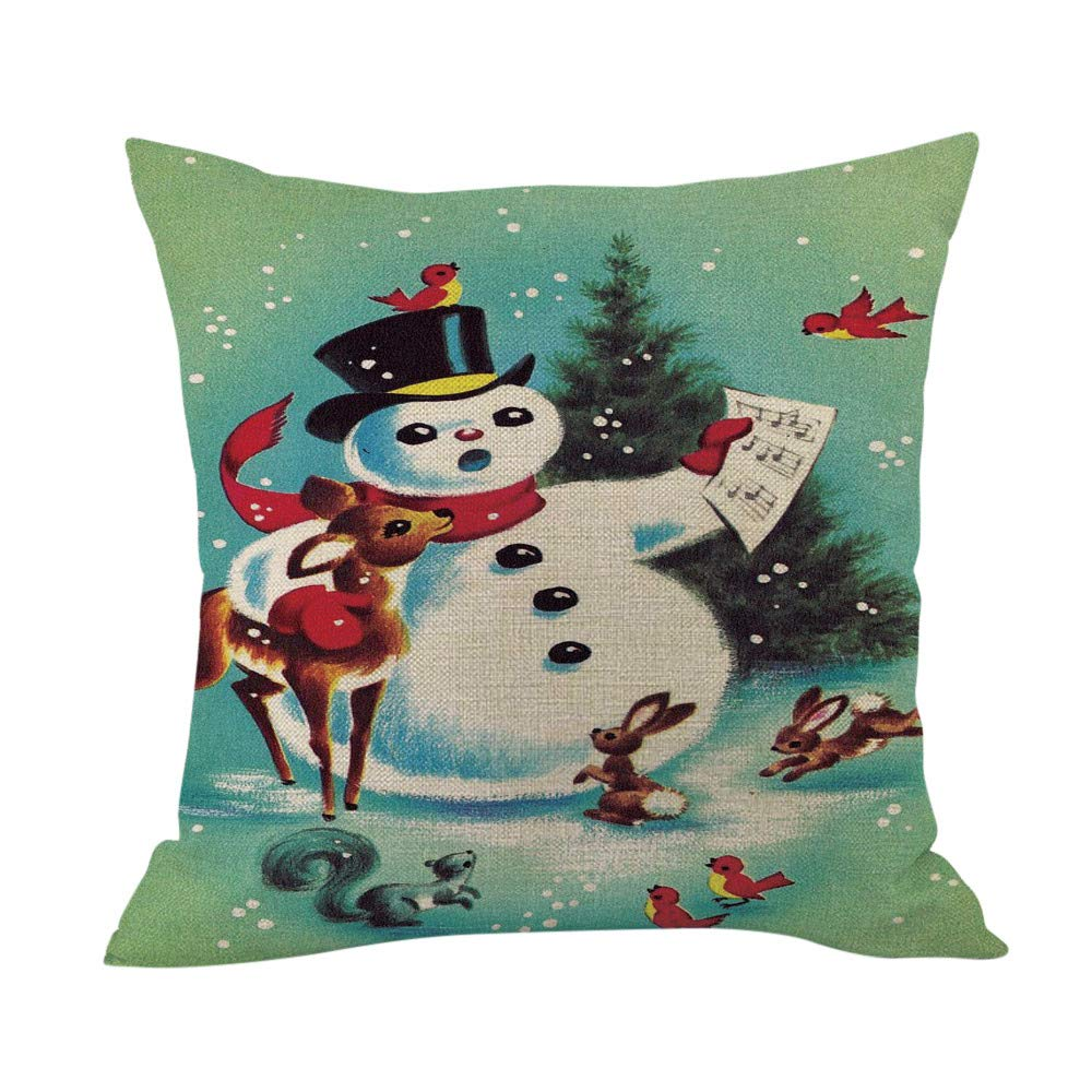 Merry Christmas Throw Pillow Cases Pgojuni Cushion Cover Cotton Linen Pillow Cover 1pc 45cmx45cm (B) by Pgojuni_Pillowcases (Image #1)