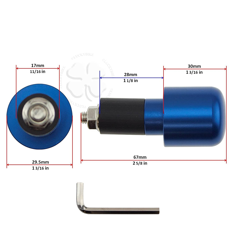 Handle Bar End CNC Slugger Black Hollow 7//8 Bars 6mm Slug Weight Slider