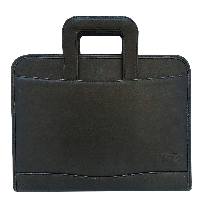 MSP Vegan Leather 3 Rings Binder Portfolio Briefcase with Slide Handles, Detachable Writing Board, Calculator, LED Flash