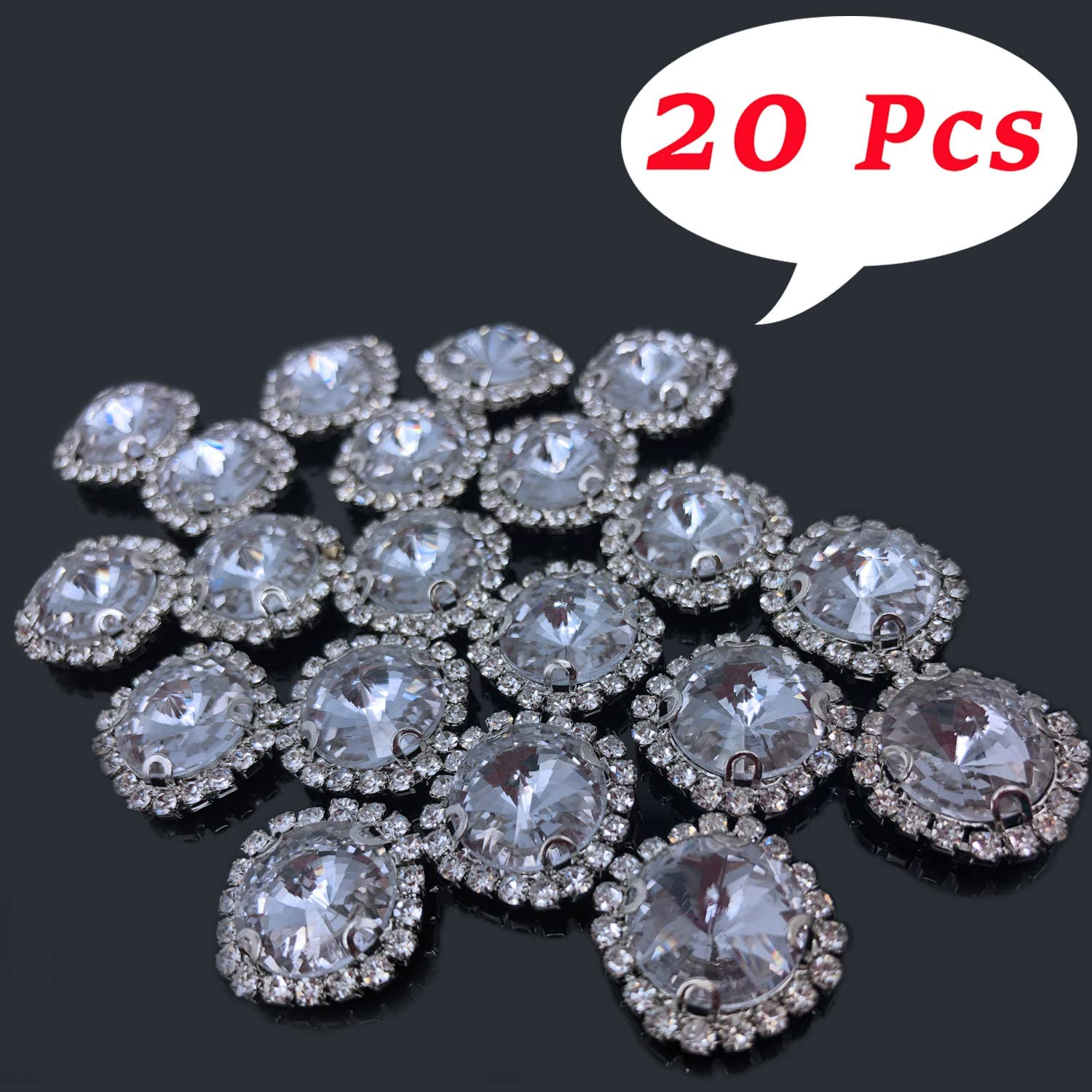 20pcs Crystal Rhinestone Button Flat Back Wedding Dress Hair Accessory DIY