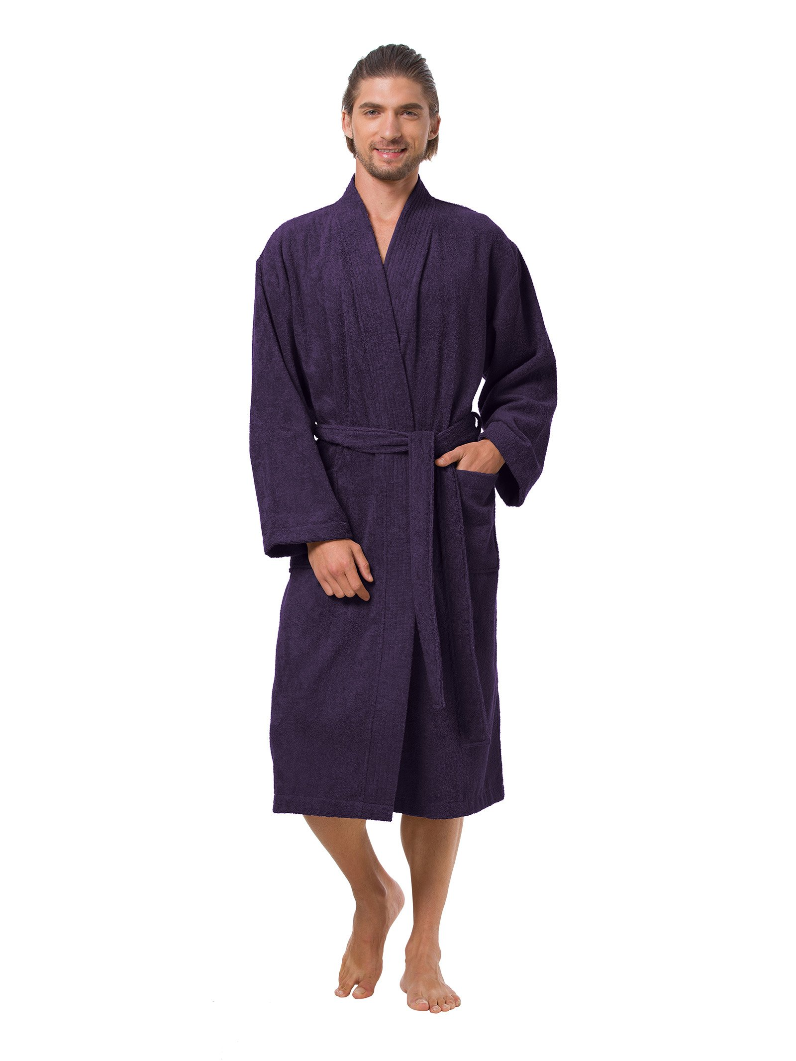 SIORO Bathrobe for Men Long Soft Cotton Robe Plus Size Pajamas Water Absorbent Spa Robe Wrap Men's Full Sleeves Sleepwear Gothic Grape XXL