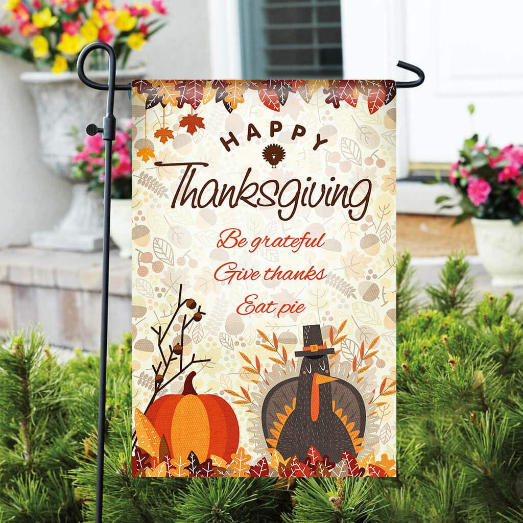 "Thanksgiving Garden Flag - 12"" x 18"" Durable Double-Sided Outdoor Flag - Happy Thanksgiving Decorative Garden Flag - Great for Patio Decorations & Entryway Decor (Flag Stand Not Included)"